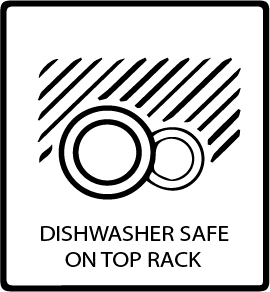 Dishwasher safe on Top Rack Symbol