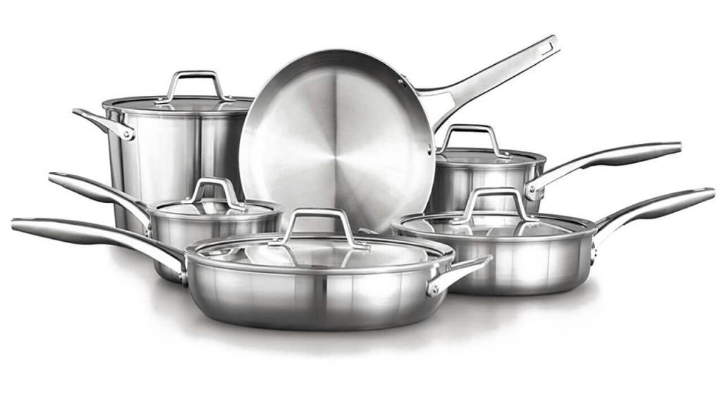 Calphalon Premier Stainless Steel Dishwasher safe 11-Piece Cookware Set Silver